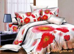 #poppy #duvetcoverset Beautiful Poppy Flower Print 4-Piece Cotton Duvet Cover Sets  Buy link->http://goo.gl/CMZuqn Live a better life, start with @beddinginn