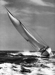 Nina, 59 ft Staysail Schooner, built 1928 Scooting upwind.