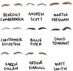 doctor who karen gillan matt smith Arthur Darvill sherlock martin freeman David Tennant Billie Piper Benedict Cumberbatch eyebrows Christopher Eccleston andrew scott