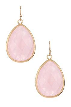 Rose Quartz Teardrop Hook Earrings