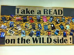 Look at this @Rachel Cain-Abercrombie Used this bulletin board to showcase books that had something to do with the WILD. Either in the title or subject matter of the book.