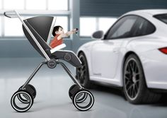 It's about time there is a little equality in the baby stroller market! The Porsche Design P'4911 blends a unique mix of materials such as carbon fiber, aluminum, leather, ball-bearing wheels, into this tough looking design that is, to say the least, quite masculine (man growl). The minimal design folds compact enough to fit into the trunk of any Porsche.