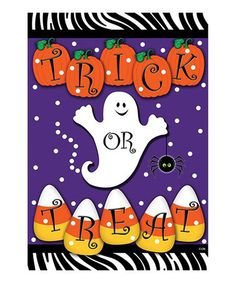 This 'Trick or Treat' Ghost Flag is perfect! #zulilyfinds