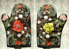 Help! I have fallen in love with a pair of oven mitts!!!  Language of Flowers oven mitt by HouseThatLarsBuilt on Etsy