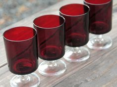Image detail for -Vintage Ruby Red Glass Goblets Set of 4 CAVALIER Arcoroc Luminarc ...