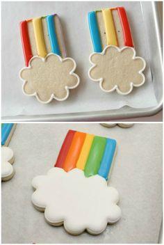 cooki idea, kid food, cooki easi, rainbow cookies, cooki decor, cookies rainbow, rainbows, fruit recip, kids