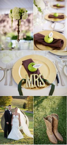 Green, gold and a touch of brown in this rustic outdoor wedding