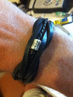 Mens Personalised Leather bracelet  ( Free postage for June )