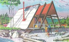 Cabin designs from Second Homes for Leisure Living published by the Douglas Fir Plywood Association in 1960.