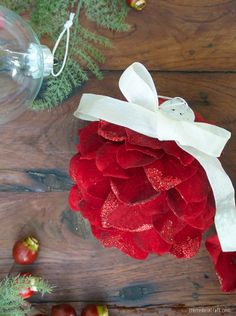 DIY: Holiday Ornaments from Silk Flowers by cremedelacreme #DIY #Christmas #Ornaments