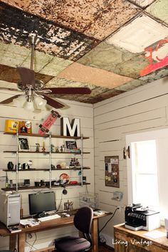 Very cool old ceiling tiles in this vintage home office and home tour