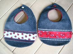 Denim Baby Bibs Set of Two Repurposed Reclaimed by Miscellanys, $20.00