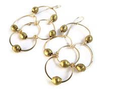 Brass Bicone Chandelier Earrings by 3tomatoes on Etsy, $60.00
