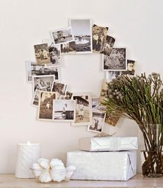a wreath made out of photographs! cute!