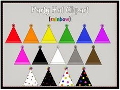 rainbow party hats clipart