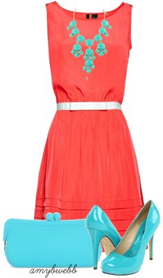 """""""Coral Dress Combo"""" ❤ liked on Polyvore color combos, the dress, color combinations, blue shoes, dress combo, bubble necklaces, big coral dress, coral dresses, coral dress outfit"""