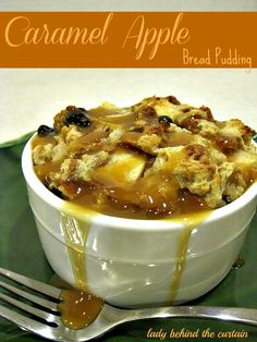 Caramel Apple Bread Pudding - Lady Behind The Curtain