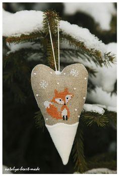 Cute Cross Stitched Fox Ornament