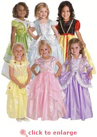 Create Your Own Princess Dress Up Set - 6 Dresses & Costumes for girls - great for a princess party or tea party. #princess #party #teaparty #birthday #dressup #costumes