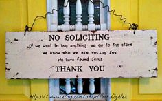 Reclaimed wood art sign hand painted NO SOLICITING by PathLighter, $39.95