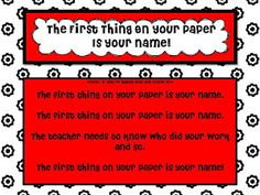 The First Thing on Your Paper is Your Name Sign!  ♥love it!