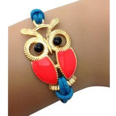 Red and Blue Owl Bracelet
