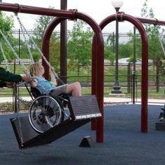 Swings for kids in wheelchairs!  Fabulous idea!