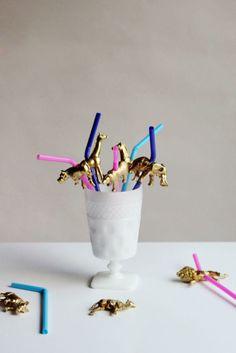 DIY gold animal straws