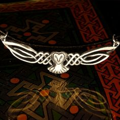 Celtic Owl Pendant in Sterling Silver Traditional Woven Design with Leather Cord