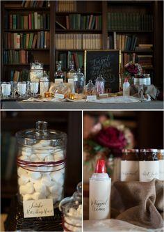 gourmet hot chocolate bar #hotchocolate #receptionideas #weddingchicks http://www.weddingchicks.com/2014/02/26/cozy-winter-wedding-ideas/