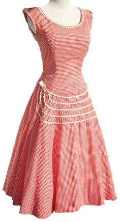 Vintage 60s Dress Oleg Cassini Red & White by metroretrovintage, $75.00