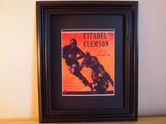 Vintage Citadel-Clemson Official football program print ready for framing. Found on Etsy!