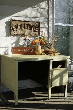 Fall Decor Distressed Desk