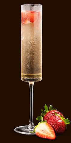 Camarena Sparkler - It's tall, golden and it glistens and PERFECT for a wedding toast!!! Ingredients: 1/4 oz. Familia Camarena Silver Tequila,   2 1/2 oz. Champagne, Fresh strawberry chunks, Splash of agave nectar