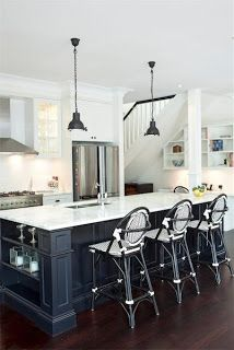 By mixing black and white with stainless steel appliances you can create a chic modern design in your kitchen.