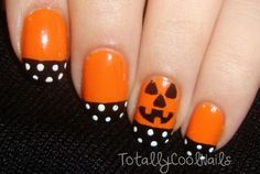 Polka Dots Tipped Halloween Nails.