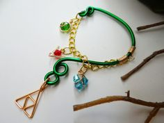 Legend of Zelda inspired ear bend with hanging spiritual stones & Triforce