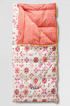 Pretty & warm sleeping bag -- I would love one of these custom made with fabrics of my choice. <3