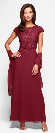 Mother of the Bride Dresses - 212692 Cap Sleeves Lace Top A-Line
