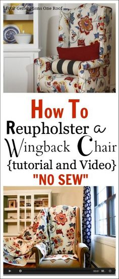 """How to reupholster a chair {tutorial + video} """"NO Sew"""" #DIY #reupholster by Jessica www.fourgenerationsoneroof.com @4gens1roof"""
