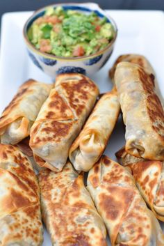 Baked and healthy Southwestern Eggrolls..these actually get crispy!  Can add chicken for extra protein to make a meal