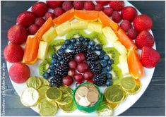 Fresh Fruit Rainbow with a Pot of Gold