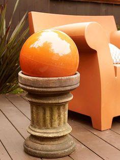 chair, orang, gaze ball, color schemes, planter