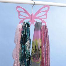Pink Butterfly Scarf Holder #HouseholdOrganization #OrganizationIdeas