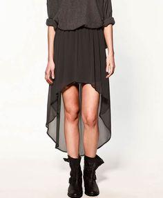 Dip Hem Pleat Dress in Chiffon