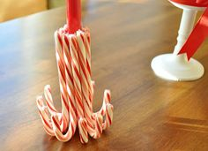 candy cane candle holder