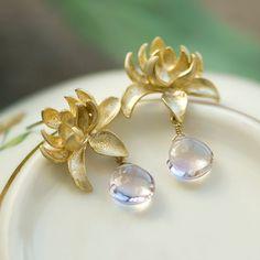 Lotus earrings, Gold stud earrings, Spring wedding jewelry, Pink amethyst earrings, Mother's day gift, Pink earrings, Gemstone jewelry