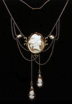 Rare Victorian 14k Gold and Shell Cameo Necklace.