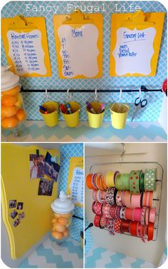 Look how the ribbons are organized by spools: Entry Closet to Craft Closet/Office Transformation