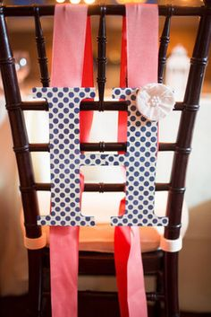 Chair Sign - coral and navy